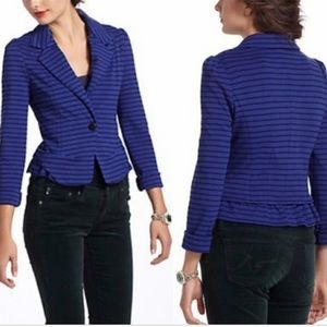 Cartonnier blue striped fitted blazer w ruffle hem